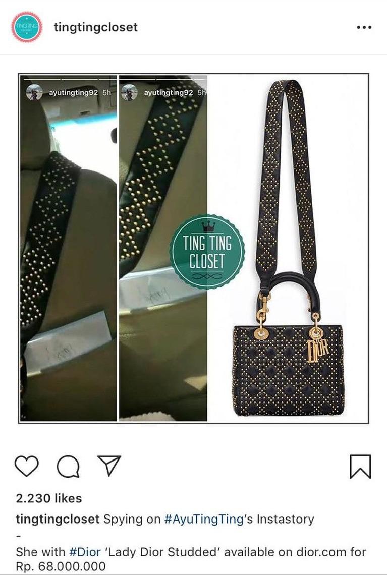 Tas selempang yang terlihat simpel ini ternyata berharga Rp68 juta. Tas dari Dior ini juga masuk dalam koleksi fesyen Ayu Ting Ting.