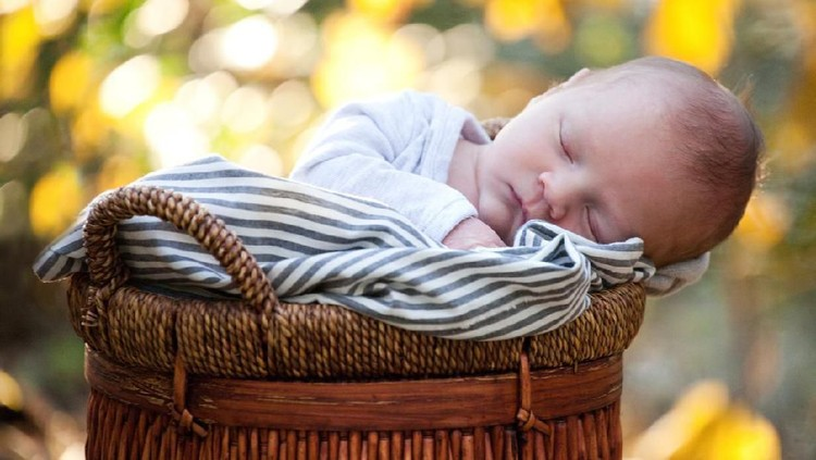 Newborn baby sleeping peacefully wrapped in blanket in a wicker basket outdoors.