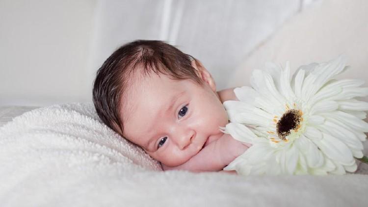 Newborn baby boy lying on bed, close up