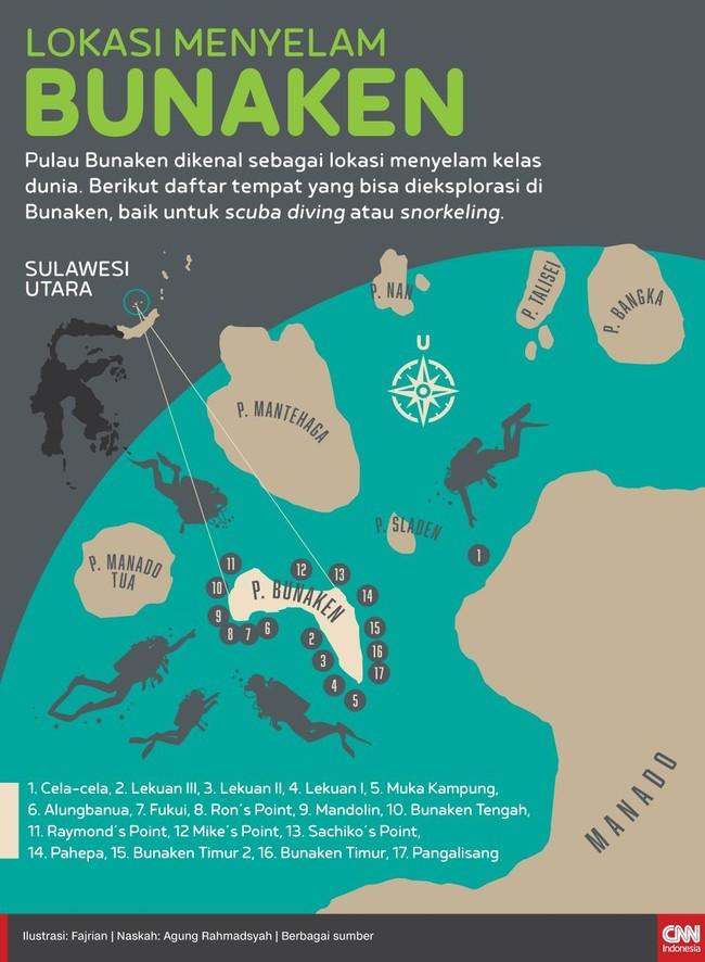 Berikut daftar tempat yang bisa dieksplorasi untuk kegiatan menyelam di Bunaken.