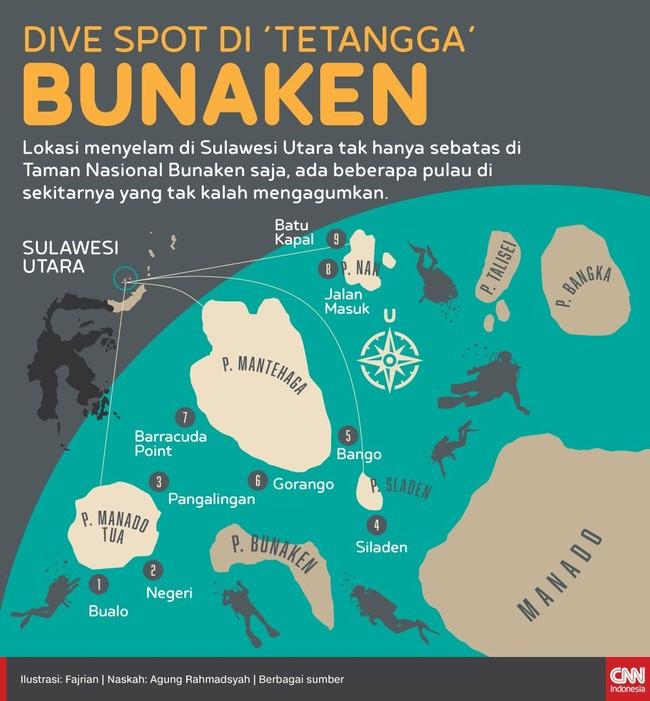 Lokasi menyelam di Sulawesi Utara tak hanya sebatas di Taman Nasional Bunaken. Ada beberapa pulau di sekitarnya yang tak kalah mengagumkan.