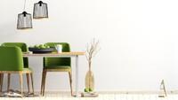 Warna hijau pada kursi bisa membuat ruang makan terlihat cerah.