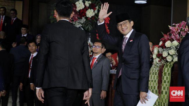 Eks cawapres Sandiaga Uno mengaku merasa terhormat saat disapa oleh Presiden Joko Widodo secara langsung dalam pidato kenegaraan di Sidang Tahunan MPR/DPR RI.