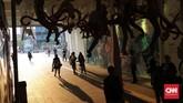 Di terowongan jalan Kendal-Blora, Jakarta Pusat, terlihat instalasi seni tentang kota Jakarta dan transportasi kereta api yang bisa dinikmati hingga 25 Agustus.