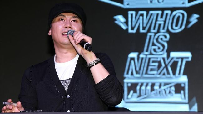 This photo taken on August 20, 2013 shows YG entertainment CEO  Yang Hyun-suk attending tvN's new reality show