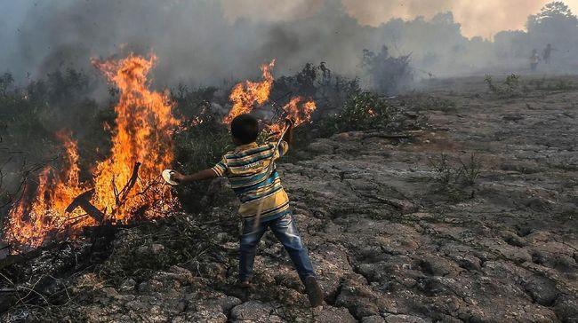 Kebakaran lahan ilalang sekitar terjadi di dekat Tol Kanci, Kabupaten Cirebon, Jawa Barat, Minggu (25/8), dan dipadamkan dalam dua tahap.