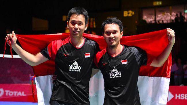 Ganda putra Indonesia Mohammad Ahsan/Hendra Setiawan mengaku tak menyangka bisa menjadi juara di Kejuaraan Dunia Bulutangkis 2019.