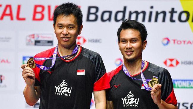 Sekjen PDIP Hasto Kristiyanto memuji mentalitas juara Ahsan/Hendra yang menjadi kunci ganda putra Indonesia itu juara dunia.
