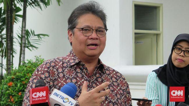 Menteri Perindustrian Airlangga Hartarto di Kompleks Istana Kepresidenan Jakarta, Rabu (28/8).