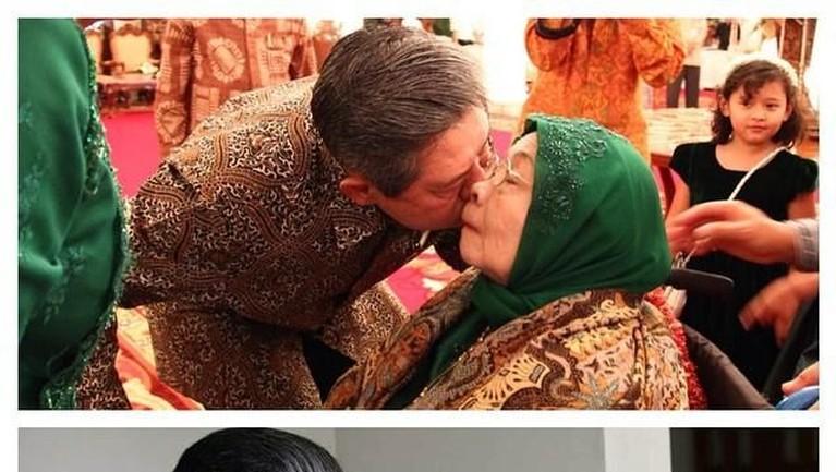 Dalam beberapa kesempatan SBY tampak menunjukan rasa kasih sayangnya kepada sang ibunda seperti mencium pipi dan sungkem di hadapan beliau.