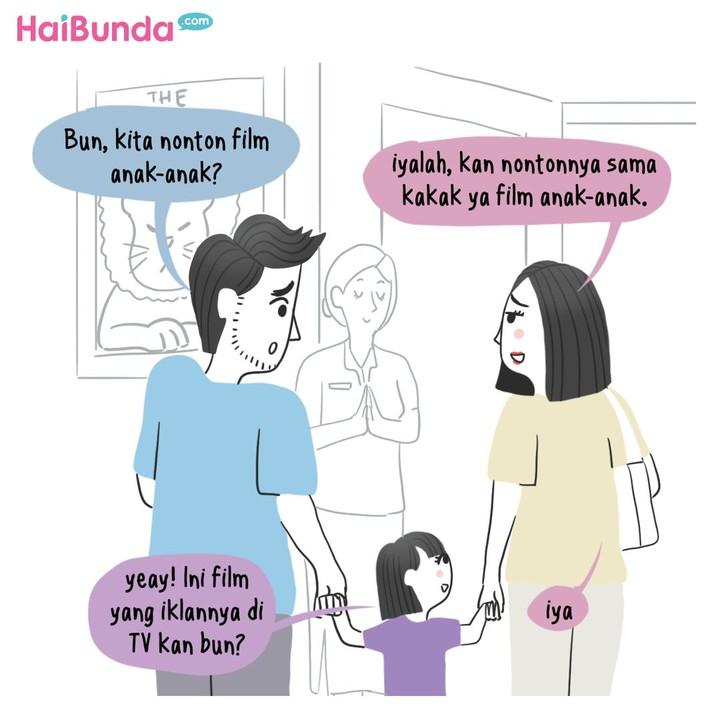 Apa pengalaman Bunda dan Ayah saat ajak si kecil nonton bioskop? Sama dengan yang dialami keluarga Bunda di komik ini tak? Share dong, Bun, di kolom komentar.