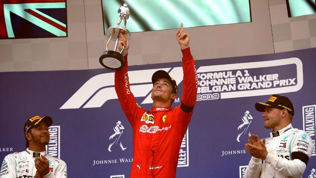 Pebalap Ferrari Charles Leclerc memastikan kemenangan di balapan Formula 1 (F1) Grand Prix (GP) Belgia, Minggu (1/9) waktu setempat.