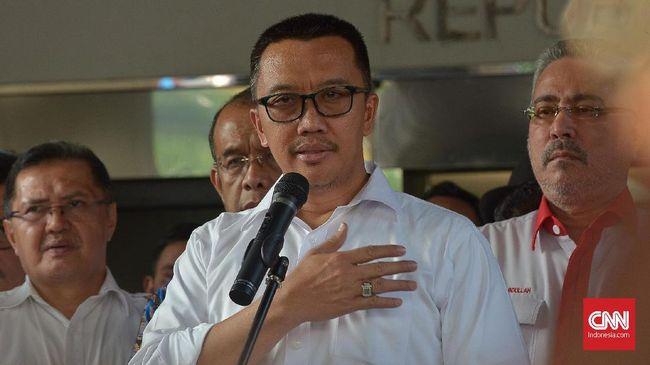 Imam Nahrawi Mentri Pemuda dan Olahraga menyatakan resmi mengundurkan diri terkait kasus suap dana hibah KONI di Kantor KEMENPORA, Jakarta, Kamis (19/9)