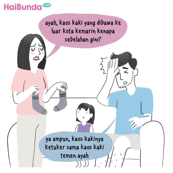 Drama di rumah Bunda di komik ini bisa terjadi hanya gara-gara kaos kaki. Bunda juga pernah mengalami? Share yuk di kolom komentar.