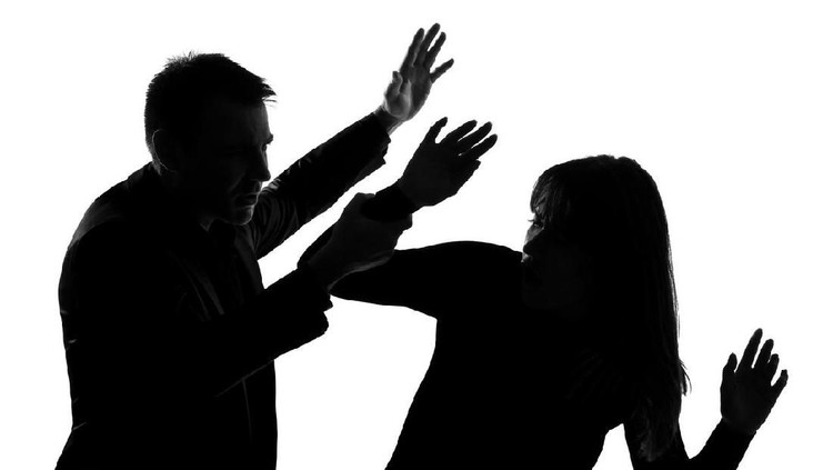 one caucasian couple man and woman expressing domestic violence in studio silhouette   on white background