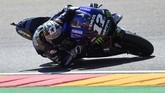 Marc Marquez berhasil mengalahkan duo Yamaha, Fabio Quartararo dan Maverick Vinales, pada babak kualifikasi MotoGP Aragon 2019.