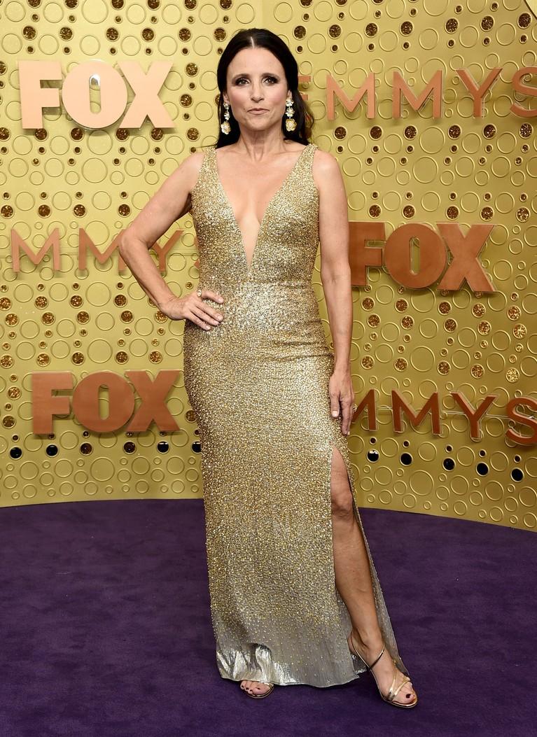 Julia Louis-Dreyfus tampil anggun memakai gaun rancangan Oscar de la Renta berwarna gold dengan payet di seluruh bagiannya. Bagian belahan dada berbentuk V menjadi pusat penampilan Julia.