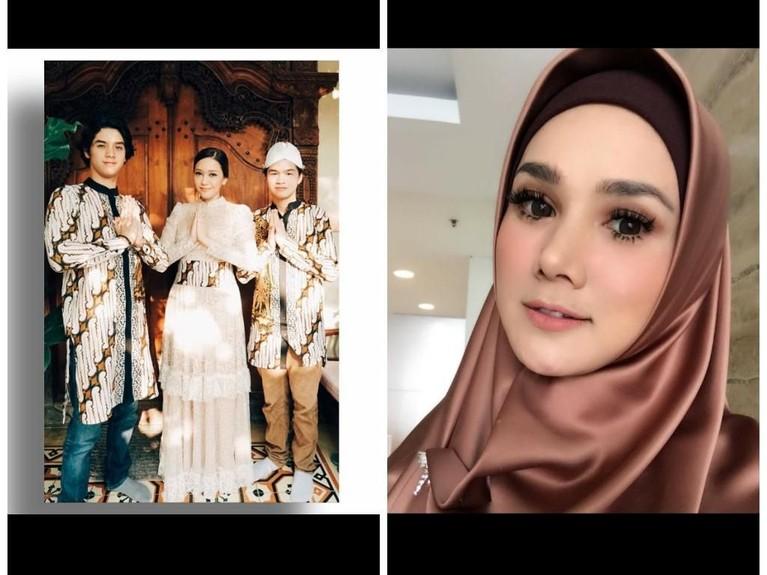 Penampilan Maia saat perayaan Lebaran 2018 terlihat kompak dengan balutan pakaian batik. Sementara Mulan memakai pakaian bertemakan coklat tua dan riasan boldnya.