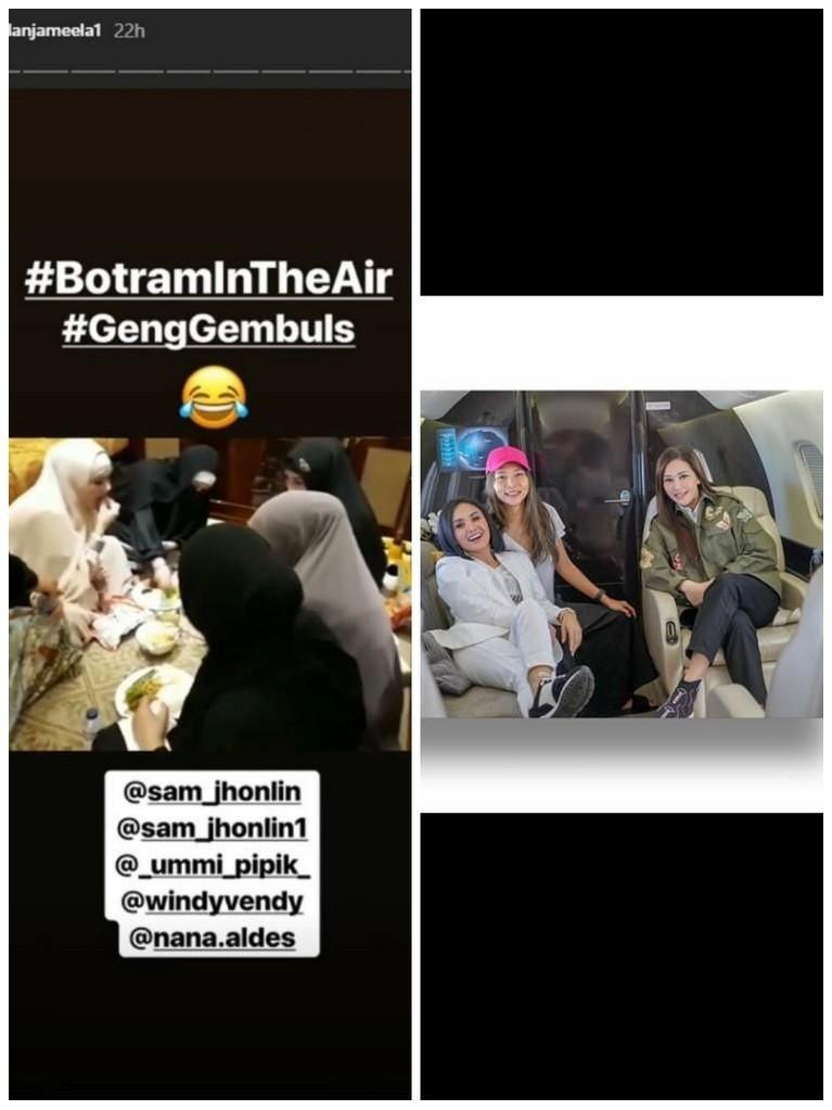 Beda gaya liburan Maia dan Mula ketika menaiki jet pribadinya. Maia dan teman-teman terlihat duduk santai sementara Mulan makan bersama-sama temannya.