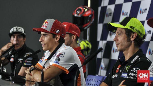 Valentino Rossi menyebut semua orang kegirangan ketika balapan MotoGP Ceko 2020 tanpa kehadiran juara bertahan Marc Marquez.