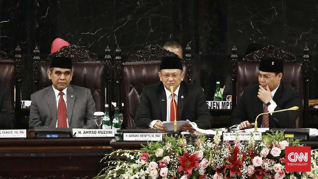 Bambang Soesatyo mengatakan pimpinan MPR sepakat mengusulkan pelantikan Jokowi-Ma'ruf sebagai presiden dan wapres digelar pada Minggu (20/10) pukul 14.00 WIB.