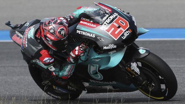 Fabio Quartararo berhasil mengalahkan Maverick Vinales pada latihan bebas kedua (FP2) MotoGP Jepang 2019 di Sirkuit Motegi, Jumat (18/10).