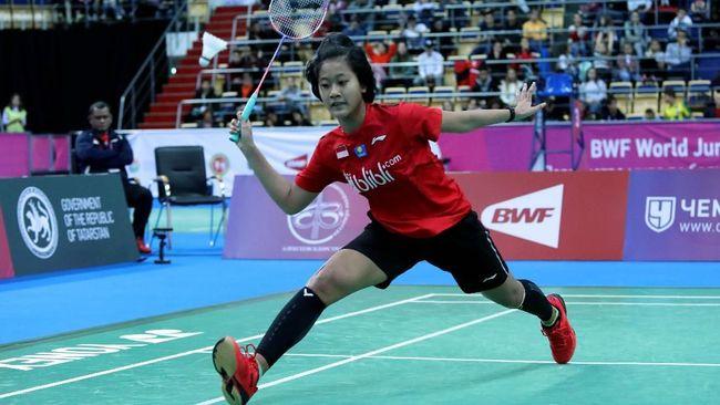 Tunggal putri Indonesia Putri Kusuma Wardani juara Spain Master 2021 usai mengalahkan Line Christophersen, Minggu (23/2).
