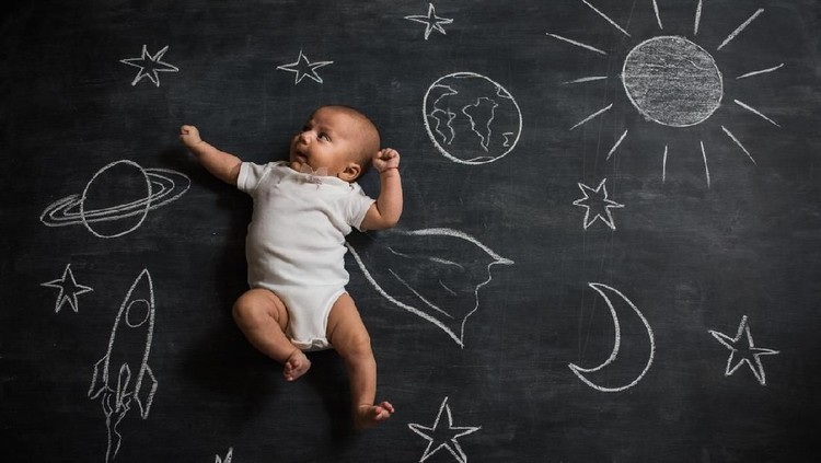 Baby super hero flying in space