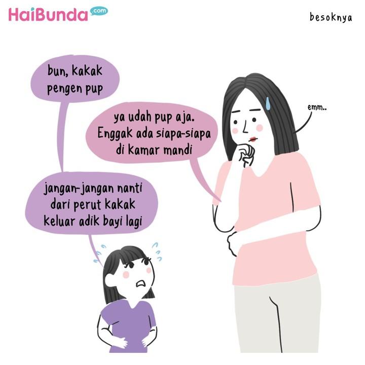 Pertanyaan adik bayi datang dari mana bikin Bunda di komik ini bingung. Bunda juga punya pengalaman seperti ini? Share yuk di kolom komentar.