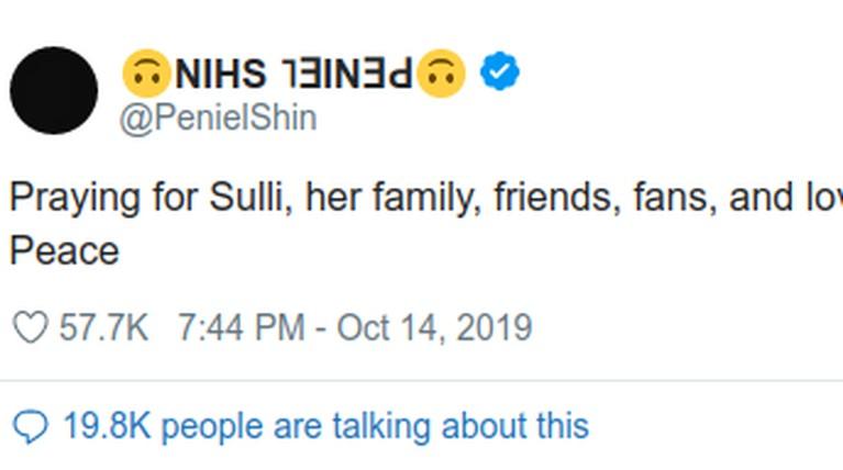 Peniel BTOB, menuliskan duka mendalam atas kepergian Choi Sulli. Melalui laman twitternya, ia menuliskan