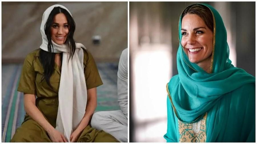 Adu Gaya Meghan Markle dan Kate Middleton Pakai Kerudung
