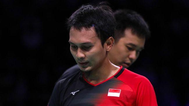 Mohammad Ahsan/Hendra Setiawan harus mengakui keunggulan pasangan China Taipei, Lee Yang/Wang Chi Lin di semifinal Toyota Thailand Open.