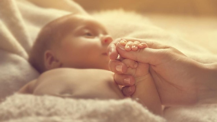 Newborn Baby Holding Mother Hand, New Born Child and Parent, Selective Focus on Family Hands, Kid and Woman