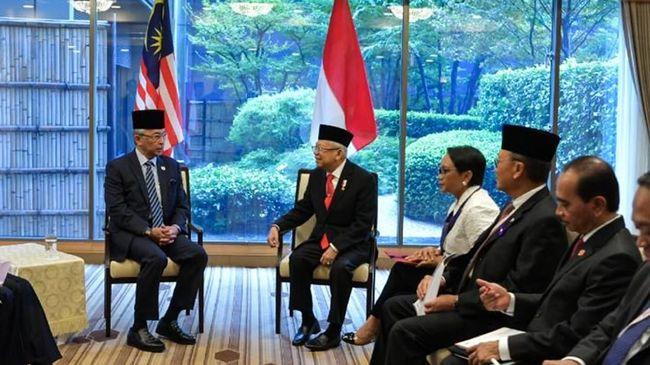 Wapres Ma'ruf Amin bertemu dengan Raja Malaysia Yang di-Pertuan Agong XVI sebelum menghadiri penobatan Kaisar Jepang, Naruhito, di Tokyo pada Selasa (22/10).