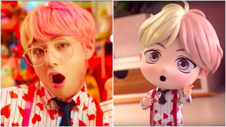 Dua warna rambut berbeda yang sangat ikonik dikenakan oleh V, pirang dan pink pastel, juga nampak lebih imut dan lucu pada versi miniatur.