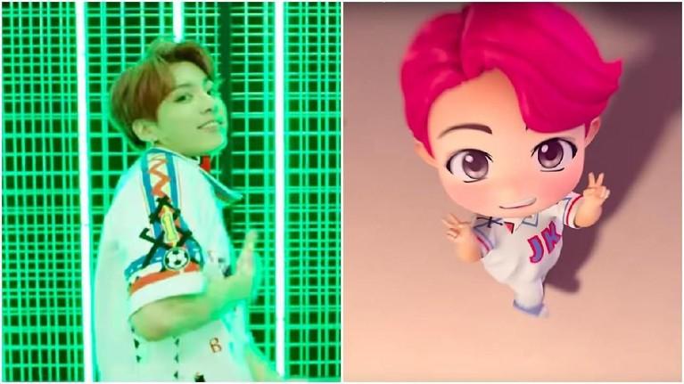 Si ganteng Jungkook juga tak kalah tampil menggemaskan pada versi miniatur. Selain pakaian yang sama persis, rambut Jungkook dibuat lebih terang berwarna magenta.