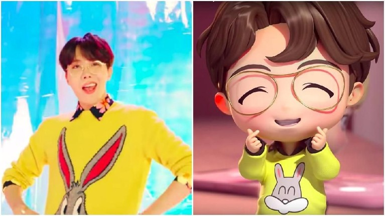 Tak ketinggalan J-Hope yang mengenakan sweater berwarna kuning dengan gambar bugs bunny. Bedanya pada versi animasi gambar kelinci dibuat lebih gemas.