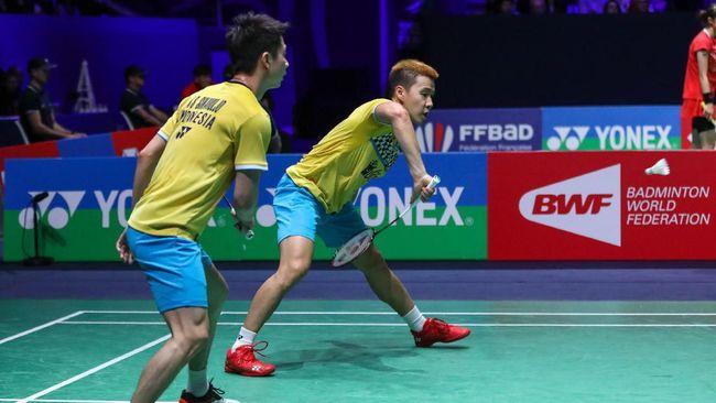 Jadwal siaran langsung final Fuzhou China Open 2019 antara Kevin Sanjaya Sukamuljo/Marcus Fernaldi Gideon melawan Takeshi Kamura/Keigo Sonoda, Minggu (10/11).