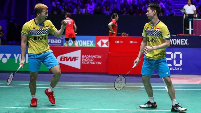 Kevin Sanjaya Sukamuljo/Marcus Fernaldi Gideon lolos semifinal Fuzhou China Open 2019 usai menyingkirkan ganda Jerman Marks Lamsfuss/Marvin Seidel 21-14, 21-19.