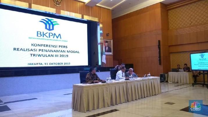 Foto: Konferensi pers BKPM terkait realisasi investasi triwulan III-2019 dan peluncuran OSS versi 1.1 . (CNBC Indonesia/Cantika Adinda Putri)