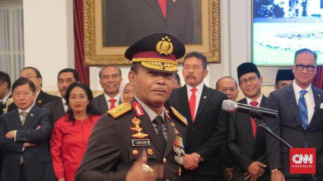 Presiden Jokowi melantik Idham Azis sebagai Kapolri di Istana Negara, Jakarta, Jumat (1/11). Idham menggantikan Tito Karnavian yang kini menjabat Mendagri.