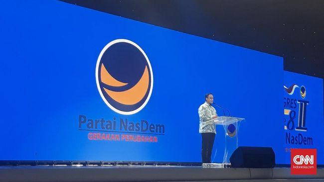 Gubernur DKI Jakarta Anies Baswedan mengenang momen pada kongres pertama gerakan Nasional Demokrat bersama Surya Paloh pada 2010.