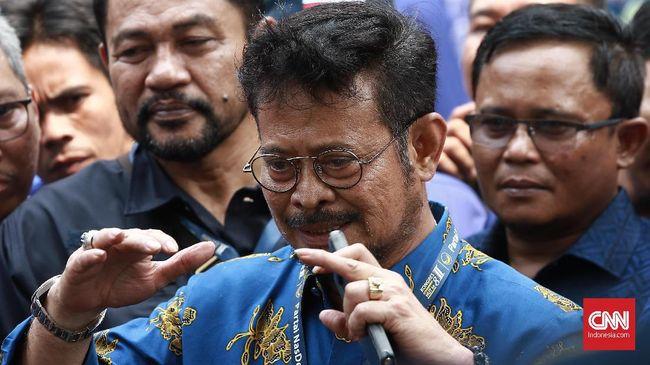 Menteri Pertanian Syahrul Yasin Limpo di Kongres Partai Nasdem, Jakarta,  Minggu, 10 November 2019. CNN Indonesia/Andry Novelino