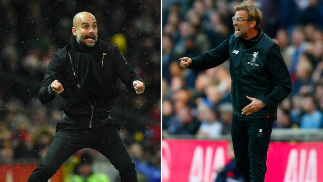 A combination of pictures created in London on April 2, 2018 shows Manchester City's Spanish manager Pep Guardiola (L) gesturing from the touchline during the English Premier League football match between Manchester United and Manchester City at Old Trafford in Manchester, north west England, on December 10, 2017 and Liverpool's German manager Jurgen Klopp.