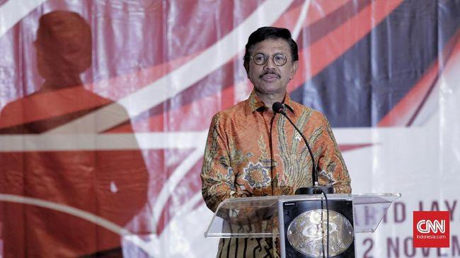 Menkominfo Johnny G Plate saat peluncuran portal aduanasn.id dan penandatanganan SKB penanganan radikaliesme ASN di Jakarta. Selasa, 12 Novber 2019. CNN Indonesia/Adhi Wicaksono
