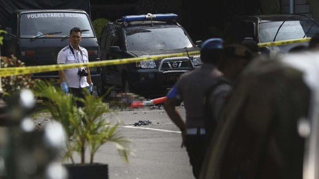 Lokasi aksi bom bunuh diri di lingkungan kantin Mapolrestabes Medan, Sumatera Utara, hari ini Rabu (13/11) pukul 08.45 WIB.