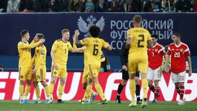 Eden Hazard mencetak dua gol saat timnas Belgia mengalahkan timnas Rusia 4-1 di Grup I Kualifikasi Piala Eropa 2020.