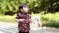<p>Anak kecil pakai baju batik, kenapa enggak? Raphael saja terlihat keren dengan menggunakan batik ditambah sneakers berwarna senada. (Foto: Instagram @sandradewi88)</p>