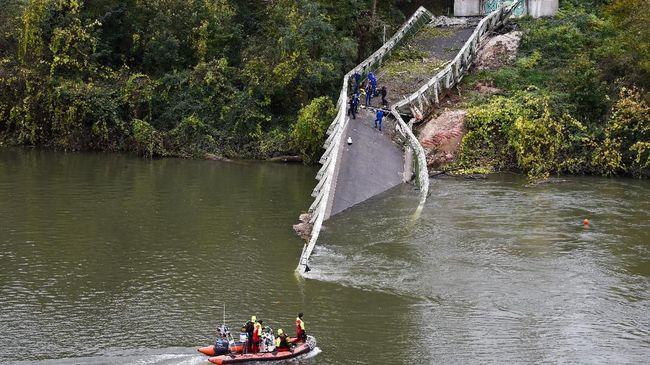 Satu dari lima orang korban jembatan ambruk di Purwakarta dinyatakan meninggal, sedangkan empat lainnya selamat.