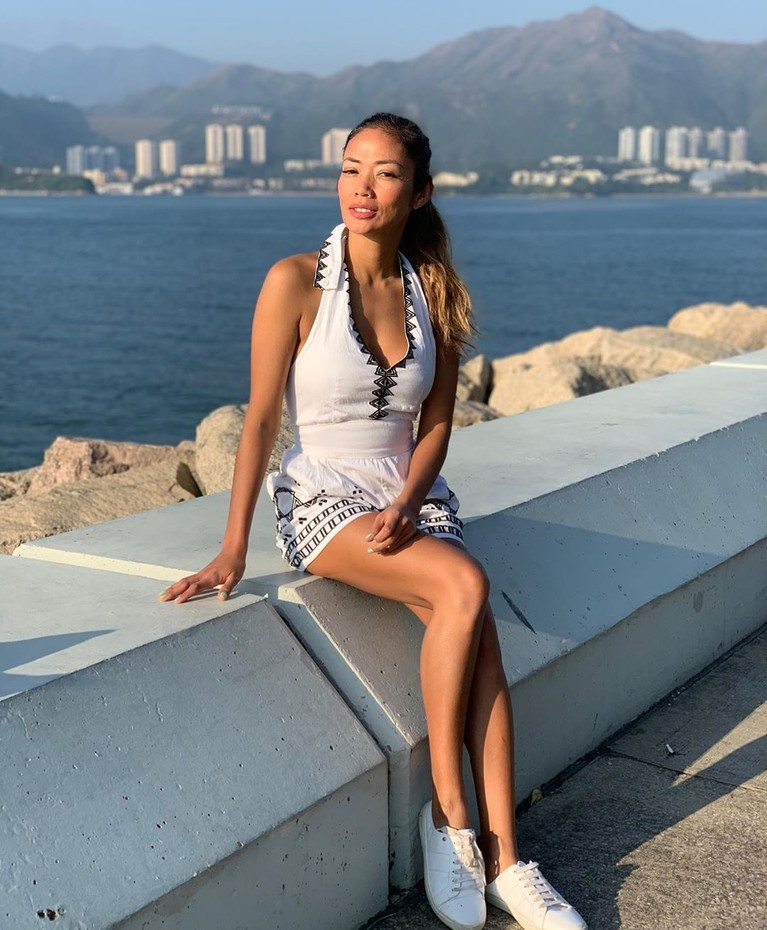 Shanty Paredes menikmati penginapan di Pulau Lantau.
